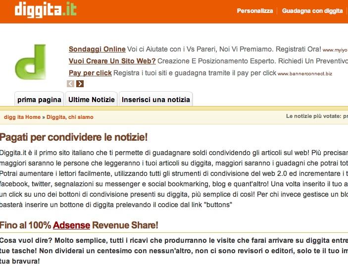 Guadagno online con Diggita.it e AdSense